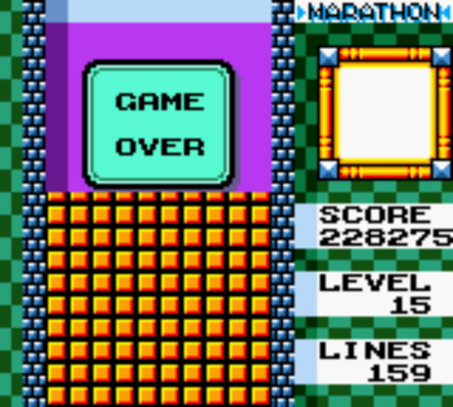 Tetris DX - Nintendo Game Boy Color - Score Board